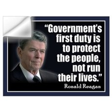 REAGAN: Government's first duty... QUOTE Small Pos Wall Decal